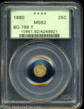 California Fractional Gold: , 1880 25C Indian Octagonal 25 Cents, BG-799Y, High R.4, MS62 ...