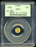 California Fractional Gold: , 1870 25C Liberty Round 25 Cents, BG-807, Low R.7, MS64 PCGS....
