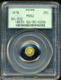 California Fractional Gold: , 1870 25C Liberty Round 25 Cents, BG-832, Low R.6, MS62 PCGS....