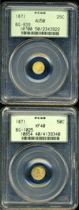 California Fractional Gold: , 1871 25C Liberty Round 25 Cents, BG-839, Low R.4, AU50 PCGS,... (2Coins)