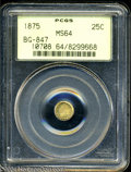 California Fractional Gold: , 1875 25C Indian Round 25 Cents, BG-847, R.4, MS64 PCGS. ...