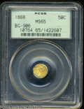 California Fractional Gold: , 1868 50C Liberty Octagonal 50 Cents, BG-906, High R.4, MS65 ...