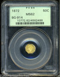 California Fractional Gold: , 1872 50C Liberty Octagonal 50 Cents, BG-914, R.4, MS62 PCGS....