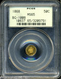 California Fractional Gold: , 1868 50C Liberty Round 50 Cents, BG-1008, R.5, MS65 PCGS. ...