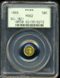 California Fractional Gold: , 1869 50C Liberty Round 50 Cents, BG-1021, High R.6, MS62 ...