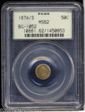 California Fractional Gold: , 1874/3 50C Indian Round 50 Cents, BG-1052, High R.4, MS62 ...