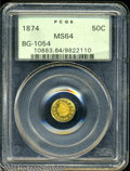 California Fractional Gold: , 1874 50C Indian Round 50 Cents, BG-1054, Low R.7, MS64 PCGS....