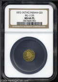 California Fractional Gold: , 1872 $1 Indian Octagonal 1 Dollar, BG-1120, Low R.5, MS64 ...