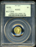California Fractional Gold: , 1870 $1 Goofy Head Round 1 Dollar, BG-1205, High R.4, AU53 ...