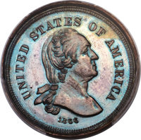 1866 5C Five Cents, Judd-517, Pollock-544, High R.7 -- Double Struck and Rotated in the Collar -- PR65 Brown PCGS....(PC...