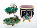 Ceramics & Porcelain, Three English Majolica Table Articles, designed 1870. Marks to dove-handled dish: (British diamond registration code for Mar... (Total: 3 Items)