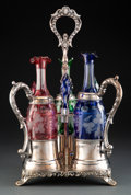 Glass, A British Silver-Plated Cruet Stand with Three Silt-Plate Mounted Glass Decanters, 19th century. Marks to stand: MERIDEN B... (Total: 4 Items)