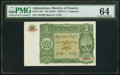 Afghanistan Ministry of Finance 5 Afghanis ND (1936) / ND (SH1315) Pick 16C PMG Choice Uncirculated 64
