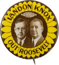 Political:Pinback Buttons (1896-present), Landon & Knox: Great Play-on-Words Slogan Jugate....