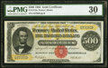 Large Size:Gold Certificates, Fr. 1216a $500 1882 Gold Certificate PMG Very Fine 30.. ...