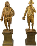 Political:3D & Other Display (pre-1896), George Washington and Benjamin Franklin: Pair of Gilt Brass or Bronze Statuettes.... (Total: 2 Items)