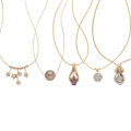 Estate Jewelry:Necklaces, Diamond, Ruby, Cultured Pearl, Gold Pendant-Necklaces . ... (Total: 5 Items)