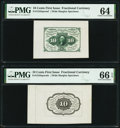 Fractional Currency:First Issue, Fr. 1243SP 10¢ First Issue Wide Margin Pair PMG Graded.. ... (Total: 2 notes)