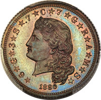 1880 $4 Flowing Hair Four Dollar, Judd-1658, Pollock-1858, High R.6, PR65 Red and Brown PCGS....(PCGS# 72043)