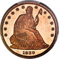 Patterns, 1839 P50C Half Dollar, Judd-103 Restrike, Pollock-115, R.8, PR66 Red and Brown PCGS. CAC....