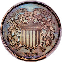 1869 2C Two Cent, Judd-672, Pollock-Unlisted, High R.7, PR66+ Brown PCGS. CAC....(PCGS# 60896)