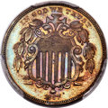 Patterns, 1867 5C Shield Five Cents, Judd-573a, Pollock-647, High R.7, PR64 Brown PCGS....