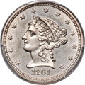 Patterns, 1861 DT$2 1/2 Quarter Eagle, Judd-281, Pollock-332, High R.7, MS63+ PCGS. ...