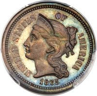 1865 3C Three Cents, Judd-413, Pollock-Unlisted, R.5, PR65+ Red and Brown PCGS. ...(PCGS# 70594)