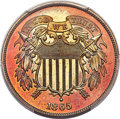 Proof Two Cent Pieces, 1865 2C PR66+ Red Cameo PCGS. Ex: Simpson. Full re...