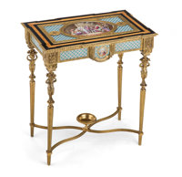 A Napoleon III Gilt Bronze Mounted Sèvres-Style Porcelain Side Table, 19th century Marks: AMaglain 3