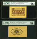Fractional Currency:First Issue, Fr. 1282SP 25¢ First Issue Wide Margin Pair PMG Gem Uncirculated 66 EPQ.. ... (Total: 2 notes)
