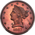 Patterns, 1867 $10 Ten Dollars, Judd-602, Pollock-667, High R.7, PR64+ Red and Brown PCGS. CAC....