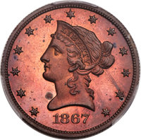 1867 $10 Ten Dollars, Judd-602, Pollock-667, High R.7, PR64+ Red and Brown PCGS. CAC....(PCGS# 70814)