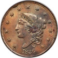 Large Cents, 1836 1C N-3, R.1, MS66 Brown PCGS. Ex: Simpson. A ...