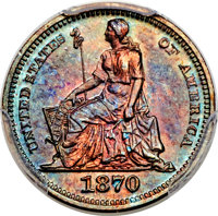1870 H10C Half Dime, Judd-818, Pollock-907, Low R.7, PR66 Red and Brown PCGS. CAC....(PCGS# 71062)
