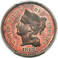 Patterns, 1868 3C Three Cent Nickel, Judd-619, Pollock-688, Low R.7,...