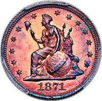 1871 10C Ten Cents, Judd-1085, Pollock-1221, High R.6, PR66 Red and Brown PCGS. CAC....(PCGS# 71344)