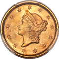 Gold Dollars, 1852 G$1 MS65+ PCGS. CAC. This strong Gem exhibits...