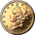 Patterns, 1866 $20 Twenty Dollars, Judd-549, Pollock-612, R.8, Gilt PR63 PCGS. CAC....