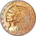 Indian Half Eagles, 1909-D $5 MS65+ PCGS. Ex: Simpson. From a large mi...