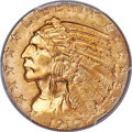 Indian Half Eagles, 1910-S $5 MS64 PCGS. Ex: Simpson. The 1910-S is si...