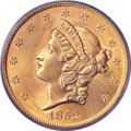 Liberty Double Eagles, 1852 $20 MS63 PCGS. Struck during the Gold Rush er...
