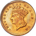 Gold Dollars, 1856 G$1 Upright 5 MS65 PCGS. CAC. Doug Winter off...