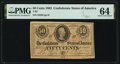 Confederate Notes:1863 Issues, T63 50 Cents 1863 PF-3 Cr. UNL PMG Choice Uncirculated 64.. ...