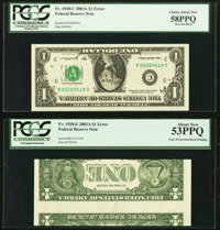 Inverted Back Error Fr. 1930-C; E $1 2003A Federal Reserve Notes. PCGS Graded Choice About New 58PPQ; About New 53PPQ