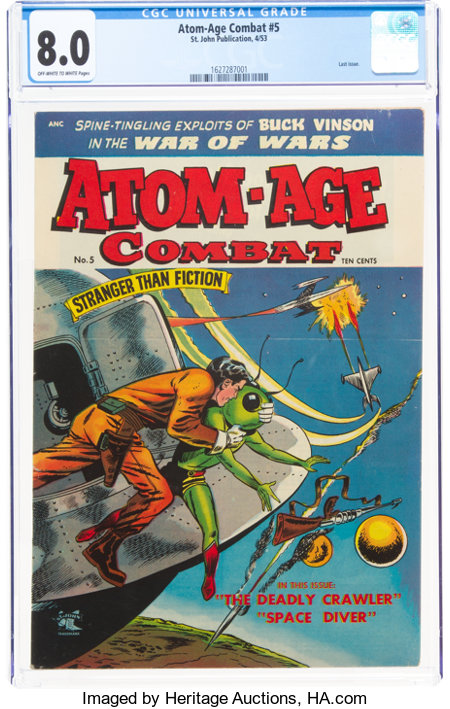 Atom-Age Combat #5 (St. John, 1953) CGC VF 8.0 Off-white to white pages....