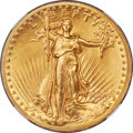 High Relief Double Eagles, 1907 $20 High Relief, Wire Rim MS65 NGC. Ex: Simps...