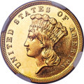 Proof Three Dollar Gold Pieces, 1889 $3 PR66 Cameo NGC. JD-1, R.4. Ex: Simpson. Th...