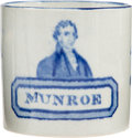 """Political:3D & Other Display (pre-1896), James Monroe: Extremely Rare and Sought-After Portrait Mug with His Name Spelled """"Munroe""""...."""