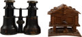 Miscellaneous:Ephemera, Mark Twain / Jean Clemens: Personally-Owned Binoculars and Wooden Bank.... (Total: 2 Items)